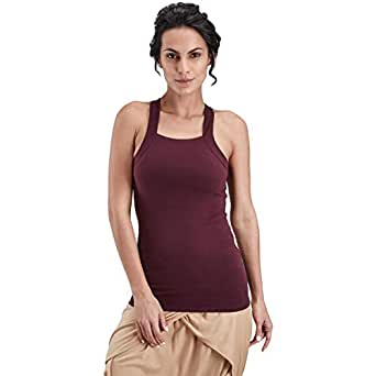 Proyog Red Cotton Square Neck Tank Top For Women