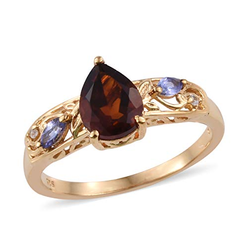 - Red Citrine Tanzanite Statement Ring 925 Sterling Silver Vermeil Yellow Gold Gift Jewelry for Women Size 8 Cttw 1.4