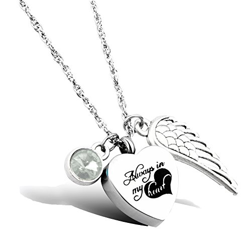 Cremation Jewelry Always in my heart Urn Memorial Necklace for Ashes keepsake Birthstone Jewelry (Keepsake Stone)