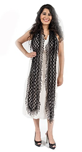 Elegant Extra Long Lace Scarf with Fringe, fashion scarf, multi color, summer beach scarf, Black -