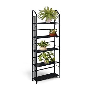 Black Metal Outdoor Patio Plant Stand 5 Tier Shelf Unit (5-TIER SHELVES)