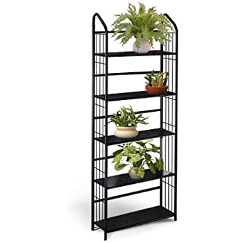 Black Metal Outdoor Patio Plant Stand 5 Tier
