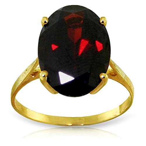 Solitaire Solid Yellow Gold 14k (Galaxy Gold 14K Solid Yellow Gold Solitaire Ring 6 Carat Oval Natural Garnet (7))