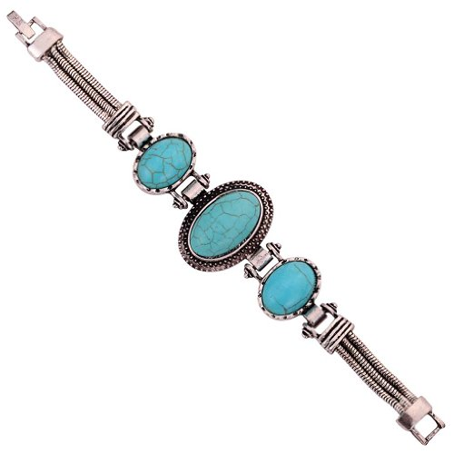 Green Oval Charm (YAZILIND Vintage Oval Shape Rimous Green Turquoise Silver Plated)