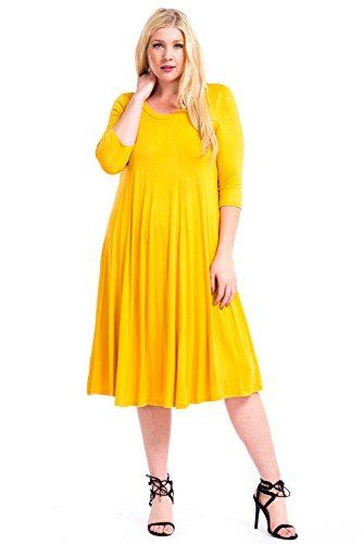 Galleon - Modern Kiwi Long Sleeve Flowy Maxi Plus Size Dress Yellow 2X