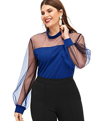 Romwe Women's Plus Size Zipper Long Sleeve Sheer Contrast Mesh Stand Collar Blouse Top Blue 1XL ()