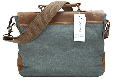 FAIRY COUPLE para hombre de cuero con el bolso de la bolsa de hombro de la lona del hombre de negocios informal Laptop Maletín C5068(green) 5 verde