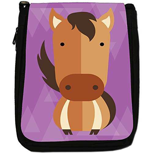 Bag Medium Size Horse Geometric Brown Horsing Animals Black Around Canvas Shoulder Modern EPn0ZYq0fw