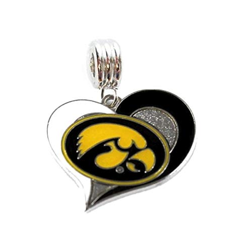 Heavens Jewelry University of Iowa Hawkeyes Team Heart Charm Slider Pendant for Your Necklace European Charm Bracelet (Fits Most Name Brands) DIY Projects ETC