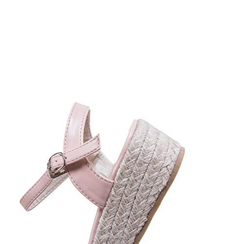 Womens Buckle Flowers Pink Urethane Buckle Shoes Flats 1TO9 MJS02951 Udx7nOwd