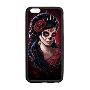 LeonardCustom Protective Hard Gel Silicon Rubber Cover Case for iPhone 6 Plus 5.5 inch, Day of the Dead Skull