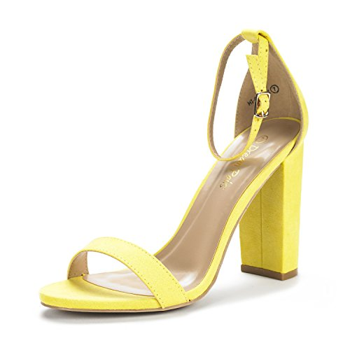 - DREAM PAIRS Women's Hi-Chunk Yellow Suede High Heel Pump Sandals - 8.5 M US