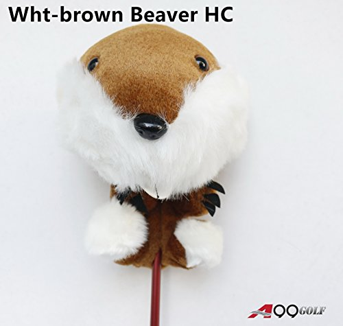 A99 Golf Animal Head Cover Wood Headcover (Wht-brown Beaver) Beaver Golf Headcover