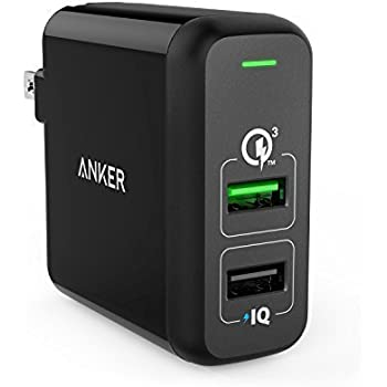 Anker Quick Charge 3.0 31.5W Dual USB Wall Charger, PowerPort 2 for Galaxy S7 / S6 / Edge / Plus, Note 5 / 4 and PowerIQ for iPhone X/8 /7 /6s / Plus, iPad Pro / Air 2 / mini, LG, Nexus, HTC and More
