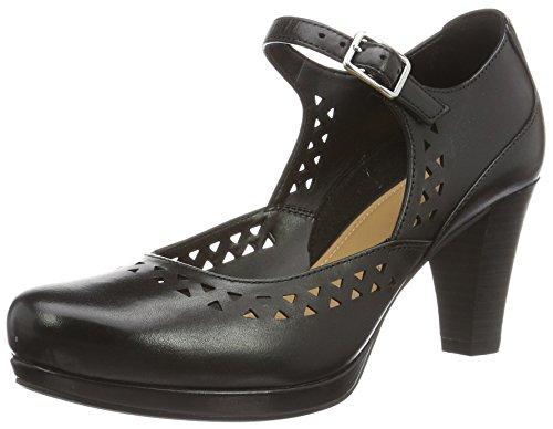 Clarks Women's Chorus Chime Ankle Strap Pumps Black (Black Leather) uTWY8rh