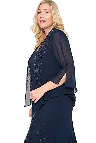 R&M Richards Long Mother of The Bride Plus Size Dress Made in USA Navy