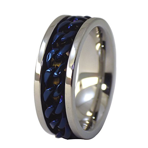 Fantasy Forge Jewelry Electric Blue Chain Spinner Ring Stress Relief Stainless Steel Band 8mm Size 10