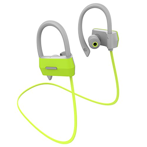 Alolli Bluetooth Headphones Wireless In Ear Earbuds V4.1 Stereo Noise Isolating Sports Sweatproof Headset with Mic, Premium Bass Sound - Green
