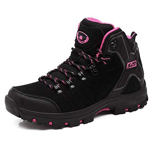 FEOZYZ Womens Hiking Boots Trekking Shoes Anti-Collision mid Heel Non-Slip Climbing Boots (6 B(M) US, Black)