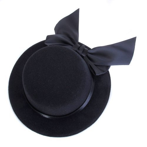 SODIAL(R) Ladies Mini Top Hat Fascinator Burlesque Millinery w/Bowknot - Black -