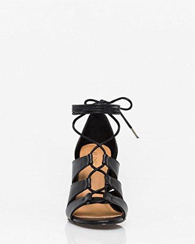 Sandal Gladiator Le Up Lace Block Heel Women's Château Black SFSq104