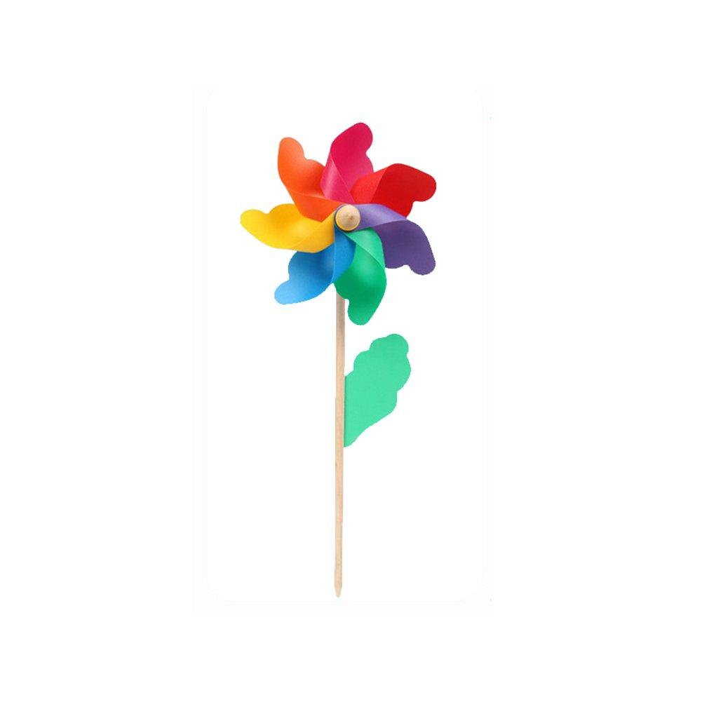 Picturer7 Manico in legno mulino a vento, 1PC colorato mulino a vento da giardino in PVC con manico in legno per aiuola vaso ornamento decorazione di arte Kid Toy, Colorato, 12 cm