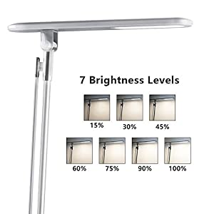 Desk Lamp, JUKSTG 36pcs LEDs 14W 7 Dimming Levels Table Lamps with 4 Lighting Modes, Folding Led Desk Lamps, 1-Hour Auto Timer, USB Charging Port, Touch-Sensitive Control, 5V Reading Lamps, Silver