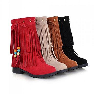 Heart&M Damen Schuhe Wildleder Herbst Winter Komfort Neuheit Modische Stiefel Stiefel Flacher Absatz Spitze Zehe Mittelhohe Stiefel Quaste Für yellow
