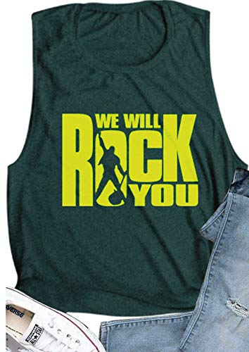 (Women Queen Shirt We Will Rock You Summer Vintage Freddie Mercury Graphic Tank Top for Music Lovers (XL, Green))