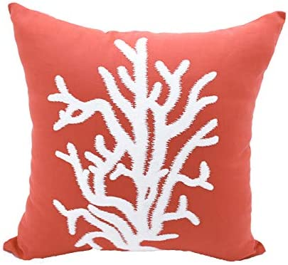 KainKain Nautical Beach House Decorative Pillow Case, Orange White Cotton Linen Couch Cushion Cover, Nautical Coral Embroider D cor, Summer Home Decoration 26 inch x 26 inch