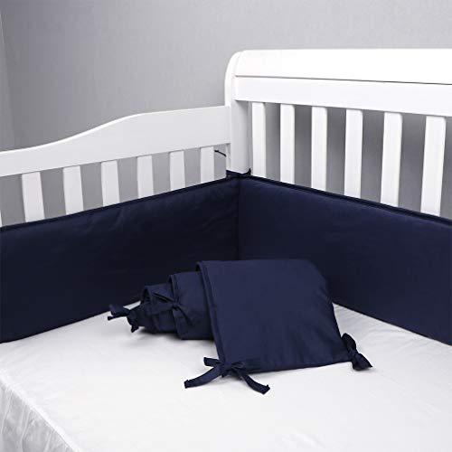 navy blue crib bumper - 2