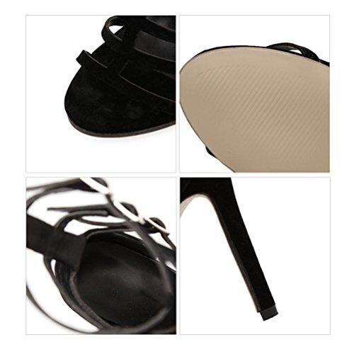 Bande Talon Mot Straps Talons Hauts Transparente Femelle Sandales À Paquet Noir Black Un Ouvert Cross Femmes Fine Xie Bout AEvwq8PA