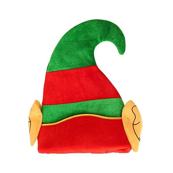 Innersetting Bonnet d'elfe de Noël à rayures vertes et rouges Design Enfant Adulte Chapeau Cartoon (B) 1