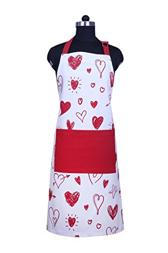 Apron, Valentine Hearts Design, Aprons for Women with Pockets, 100% Natural Cotton, Eco-Friendly & Safe, Adjustable Neck & Waist ties, Machine Washable, Cute Apron by CASA DECORS