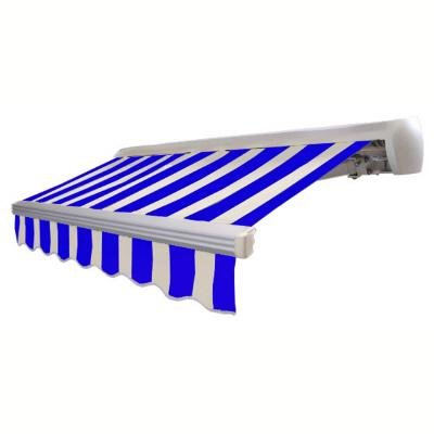 Awntech 10 ft. x 8 ft. Destin Motorized Retractable Awning in Bright Blue & White Stripe (Right Side Motor)