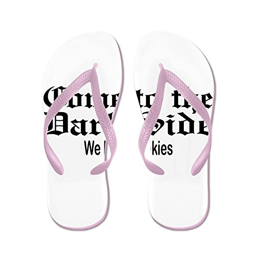 Price comparison product image Royal Lion Kid's Come to the Dark Side We Have Cookies Pink Rubber Flip Flops Sandals 9-11