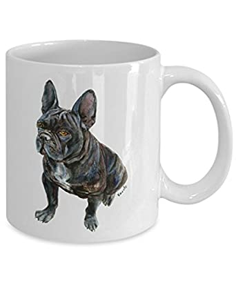 Black French Bulldog Mug - Style No.7 - Cute Ceramic Frenchie Coffee Cup (15oz)