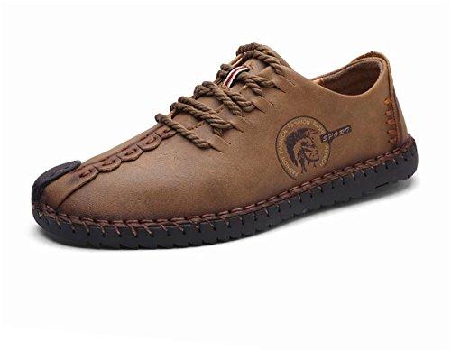 Queixiw Leather Casual Shoes Men Full Handmade Vintage Shoes Lace up Natural Rubber Bottom Zapato de Cuero Hombre Khaki 9