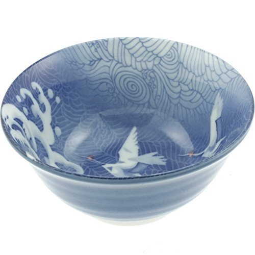 Japanese 6 Tayo Blue Wave/cranes Bowl by (Crane Bowl)