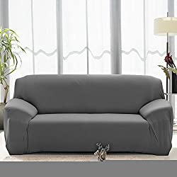 "Stretch Seat Chair Covers Couch Slipcover Sofa Loveseat Cover 9 Colors/4 Size Available for 1 2 3 4 Four People Sofa + Pillowcase (57""-72""/2 Seater, Grey)"