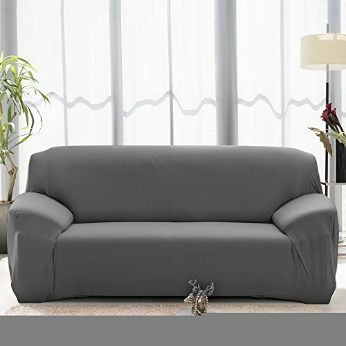 Back 3 Three Seat Sofa - Stretch Seat Chair Covers Couch Slipcover Sofa Loveseat Cover 9 Colors/4 Size Available for 1 2 3 4 Four People Sofa + Pillowcase (57