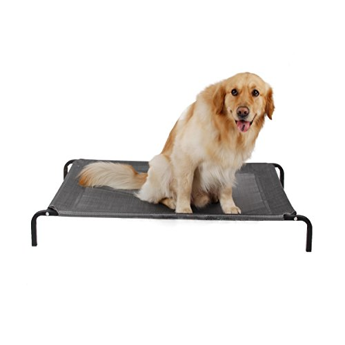 GR Steel Framed Cot Elevated Cooling Pet Dog Bed With Oxford Fabric Portable Home Yard (Size : M) by GR