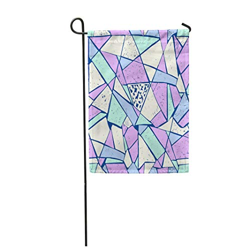 Semtomn Garden Flag 12x18 Inches Print On Two Side Polyester Blue Mosaic of Broken with Markers Trending Memphis Style Abstract Colorful Home Yard Farm Fade Resistant Outdoor House Decor Flag