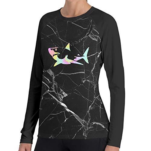 (Tie Dye Shark Long-Sleeved T-Shirt, Fashion 100% Polyester Polo Shirt for Womens)