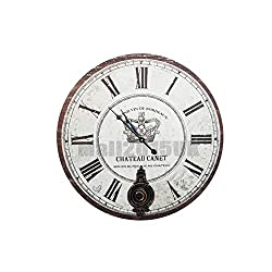 YWYU Decorative Wall Clock Silent Large Wall Clock Battery Operated for Living Room Kitchen Bathroom Bedroom Round Vintage Decor 23 (Color : A)