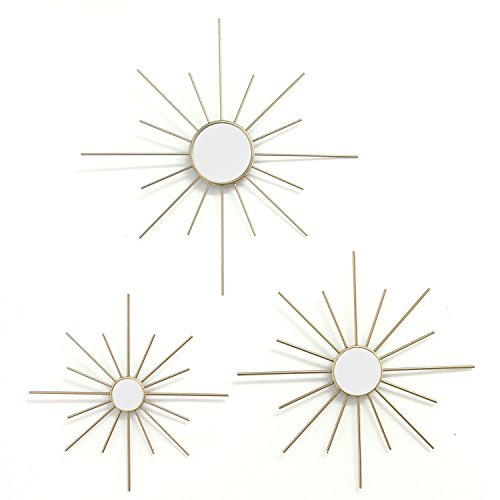 Stratton Home Decor Set of 3 Mirror Burst Wall Decor, Gold