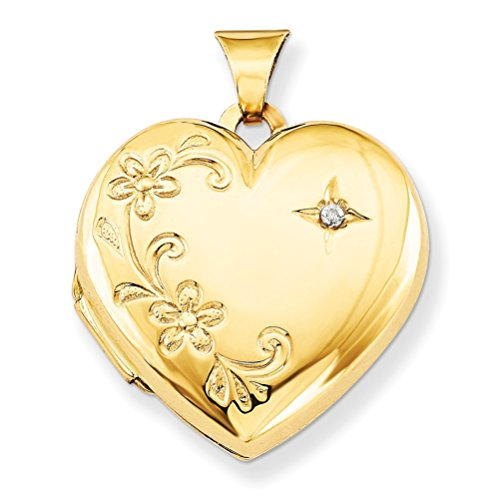14k Yellow Gold Four Picture Diamond and Flower Heart Locket ( .01 Ct, G-I Color, I1 Clarity) by The Men's Jewelry Store (for HER)
