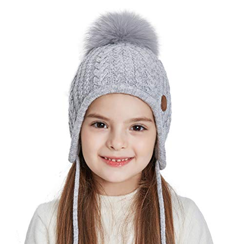 SOMALER Toddler Kids Winter Ear Flap Beanie Hat Boy Girl Fur Pompom Knit Hats