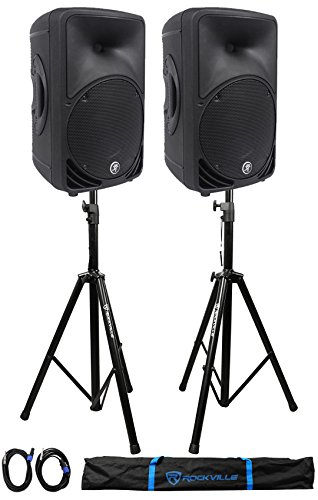 (2) Mackie C200 10'' 2-Way Passive SR PA Speakers+ 2)Stands +2)Cables +Carry Case by Mackie