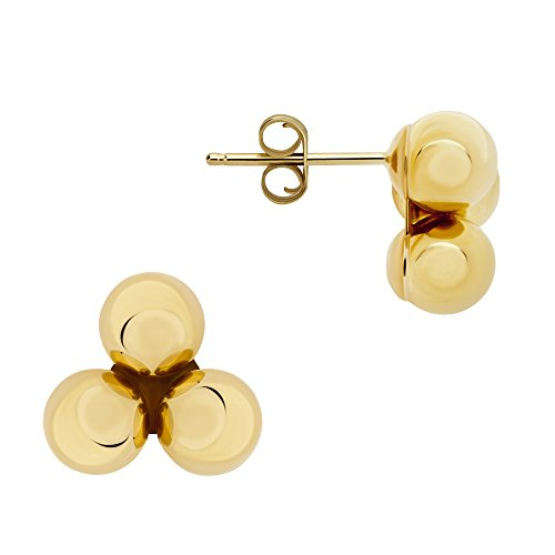 14K Yellow Gold Three-Ball Stud Earrings 5, 7, 9, 11 MM (7 Millimeters) 14k Yellow Gold Rough